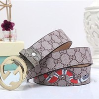 """""""Gucci"""" Unisex Retro Fashion Tiger Head Snake Print GG Letter Needle Buckle Leather Belt Waistband"""
