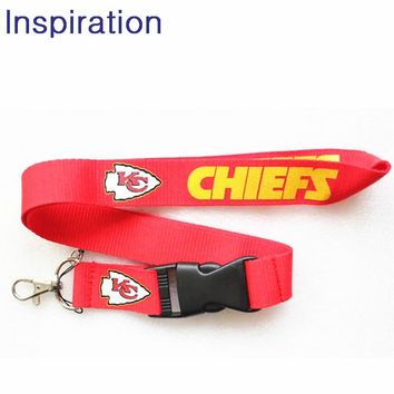 Kansas City Chiefs Football Lanyard Neck Strap Necklace Key Lanyards ID Badge Holders Mobile Neck Straps With Keyring For Fans