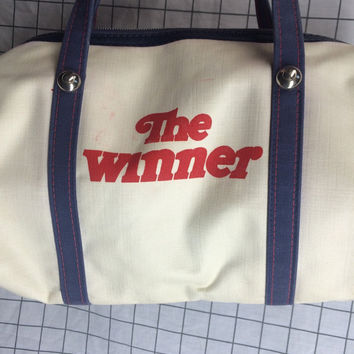 "Vintage ""The Winner"" White Blue & Red Duffle Bag"