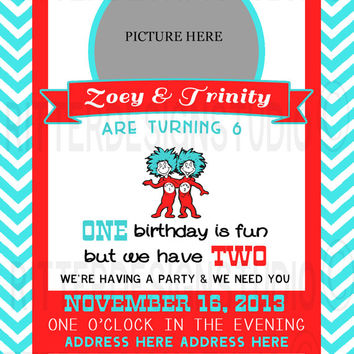 Thing 1 Thing 2 Twin Birthday Invitation - Printable