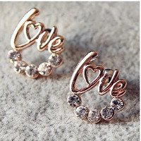 New Arrival cute Gold Plated LOVE Heart Crystal Stud earring For Women Fancy Jewelry = 1668696516
