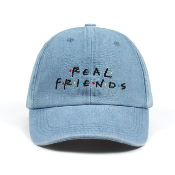 Washed Denim Real Friends Hat Trending Rare Baseball Cap I Feel Like Pablo Dad Hat Snapback Cap Kanye Tumblr Hip Hop Men Women