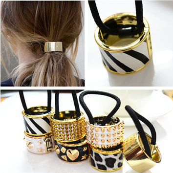 Hotsale Metal Mirrored Celeb fashion Chic Style Round Hoop Cuff Wrap Girls' Ponytail Holder Ring Hair Bands Women Hair ties