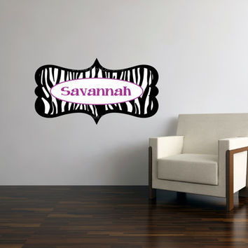 Zebra print ornate frame personalized name removable vinyl wall art decal - custom girls room