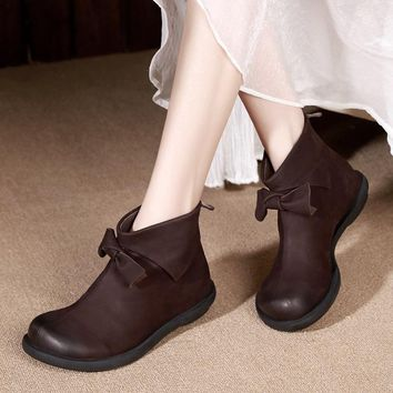 Designer Women Ankle Boots Genuine Leather Chelsea Boots For Women 2017 Autumn Handamde Leather Martin Boots Set Foot Lazy Shoes