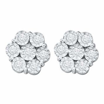 10kt White Gold Women's Round Illusion-set Diamond Flower Cluster Earrings 1.00 Cttw - FREE Shipping (US/CAN)