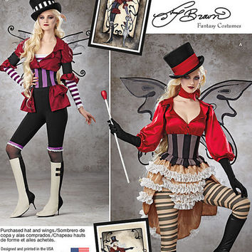 Fantasy Fairy Costume Pattern, New Simplicity 1301 Pattern, Gauntlets, Waist Cincher, Bustle Skirt, Leggings, Hat, Plus Size Pattern