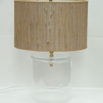 Clear Glass Table Lamp with GrassCloth Drum Lamp Shade