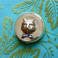 Vintage Kitty Cat Meow Mini Medicine Pill Box with Bow Tie & Swarovski Sparkling Eyes // Snuff Box Trinkets Retro Kitsch Mod 1960s Sweet