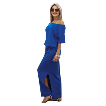 BOHO Maxi Dresses Summer Women Short Sleeve Bodycon Long Party Dress Blue with Pocket Vestidos #JO