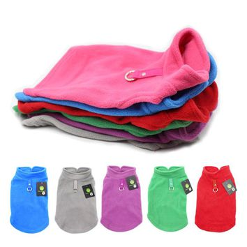 2017 Solid Winter Warm Doggy Hoodie Pet Dog Clothes Soft Fleece Jacket for Small Dogs Chihuahua Dog Harness Vest