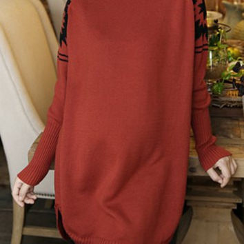 Red Printed Long Sleeves Sweater