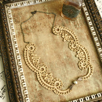 lace collar necklace -CHANTILLY SWIRL- gold or silver