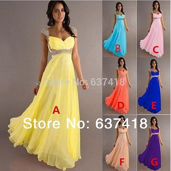 In Stock Chiffon Bridesmaid Dress Prom Party Dress with Sequins and Beads  Lace up Back Junior cfac26fbb293