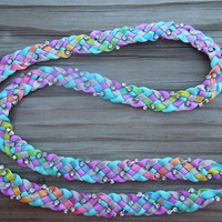 Multicolor Pastel Braided Ribbon and Rhinestone Lanyard
