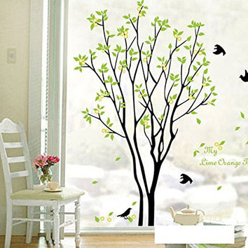 Alrens_DIY(TM)My Time Change Free Dreaming Tree Green Leaves Flying Swallows Birds DIY Eco-friendly PVC Vinyl Wall Sticker Removable Home Decoration Creative Art Self-adhesive Dcor adesivo de parede Mural Bedroom Living Room Decorative Decal