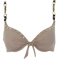 Gold spike chain bikini top
