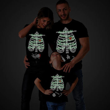 GLOW in the Dark, Christmas Maternity Shirt, Maternity Family Shirts, Christmas Family Shirts, Christmas Shirts, Maternity Christmas Shirts