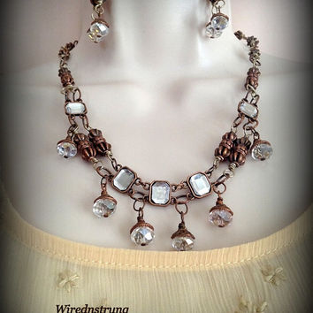 Victorian Inspired Necklace and Earring set in Copper and Silver, Victorian necklace, Gift for her, Fashion Jewelry, Copper necklace