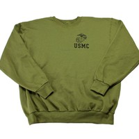 Vintage USMC Army Green Crewneck Sweatshirt Mens Size Large