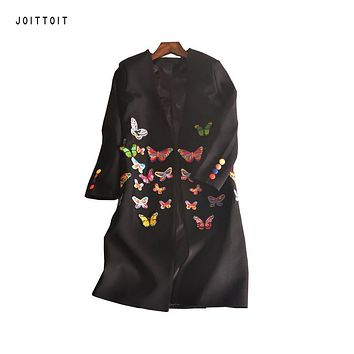 Women Spring Summer Trench Coat 2017  Embroidery Butterfly Character Trench Coat Women Plus Size White Black Long Trench Coat