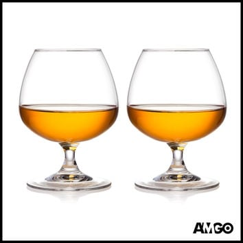 Amgo 100% Crystal Cognac Brandy Snifters Glasses, Top of the Line, Lead Free, 8.45 oz, Set of 2