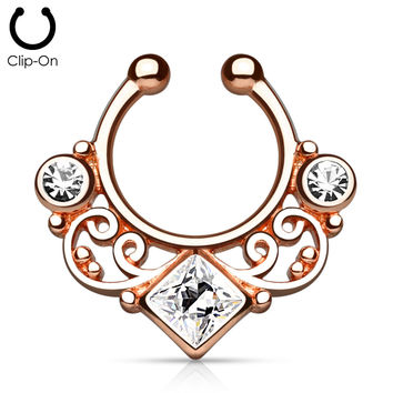 Rose Gold Tribal Goddess Septum Clip-On
