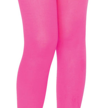 Costume Accessory: Black Tights - Girl's | XL - Neon Pink