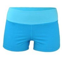 Kalon Clothing Yoga Athletic Shorts Multiple Colors (Small, Bright Blue/Aqua)