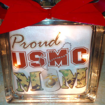 Military Branch Lighted Glass Block and Home Glass Decor and Gifts