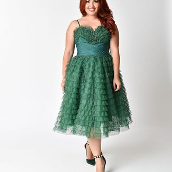 Unique Vintage Plus Size 1950s Emerald Green Ruffled Tulle Sweetheart Cupcake Swing Dress