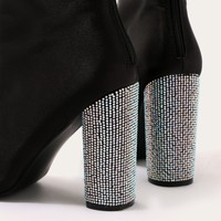 Chica Diamante Heel Sock Fit Ankle Boots in Black Stretch