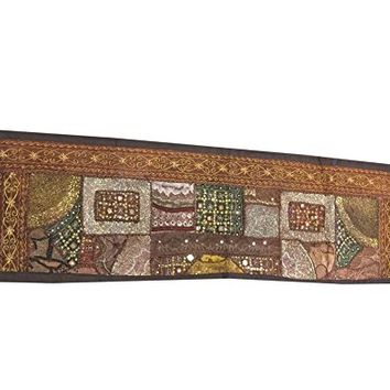 Mogul Table Runner Embroidered Vintage Beaded Table Throw Tapestry 60