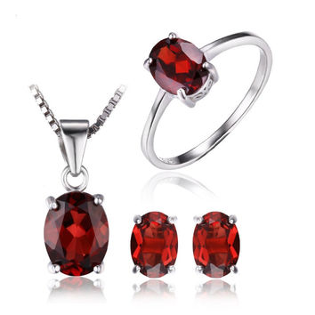 Silver 5ct Oval Cut Natural Red Garnet Jewelry Set
