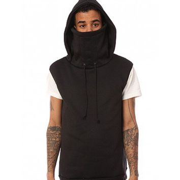The Sleeveless Kino Ninja Hoodie in Black  - ARSNL Clothing