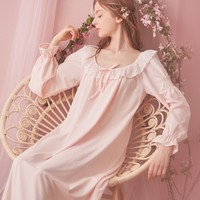Sweet Desire Cotton Lace Royal Style Night Gown Long Sleeves Women Spring