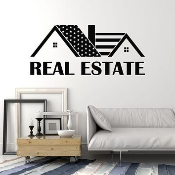 Vinyl Wall Decal Real Estate Agency House Realtor American Flag Stickers Mural (g2694)