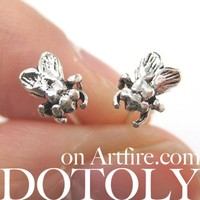 Sterling Silver Realistic Mosquito Fly Insect Animal Stud Earrings