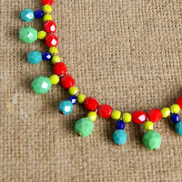 colorful beaded necklace, rainbow, copper, beaded chain, boho,