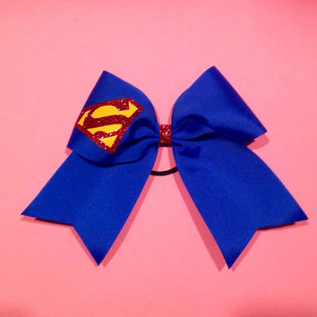 Superman Inspired Cheer Size Bow