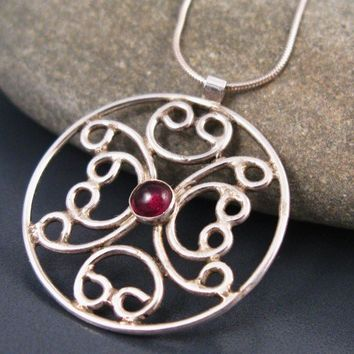 Garnet necklace, filigree necklace with a Garnet stone,  sterling silver handmade jewelry