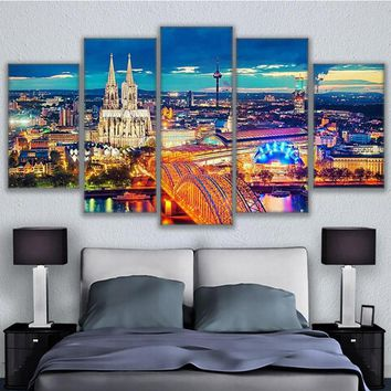 Poster HD Printed Painting Canvas Print Home Decor 5 Panel Bishop Of Cologne Night View Large Wall Art Pictures For Living Room
