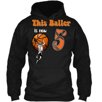 5th Birthday Basketball T-Shirt Funny 5 Years Old Gift Pullover Hoodie 8 oz