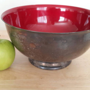 Reed and Barton Large Silver Bowl with Red Enamel / Mid Century Collectible Centerpiece / Candy Apple Red Lining Free Shipping