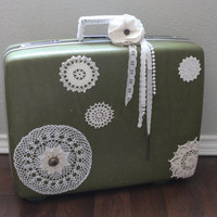 Romantic Vintage Royal Traveller Suitcase Doily Shabby Chic Upcycle Decor
