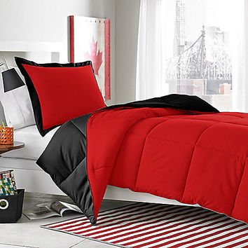 Micro Splendor Red/Black Reversible Comforter Set