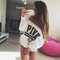 Fashion  Casual Print Letter Long Sleeve Off Shoulder Cotton Sweater Sportswear