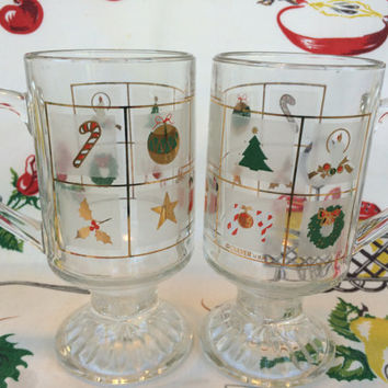 Retro 70s Culver Christmas Mugs Hot Toddy Glasses Gold Trimmed Vintage Kitchen