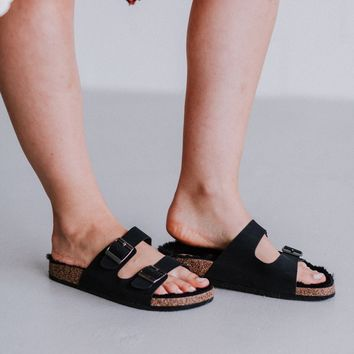 Quest Furry Sandal - Black