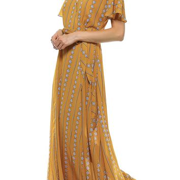 Teeze Me | Short Sleeve V Neck Kimono Wrap Printed Maxi Dress  | Mustard